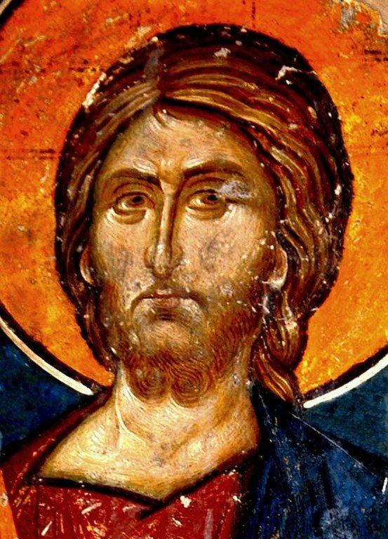 Лик Спасителя. Фрагмент фрески церкви Святого Николая Орфаноса в Салониках, Греция. XIV век.