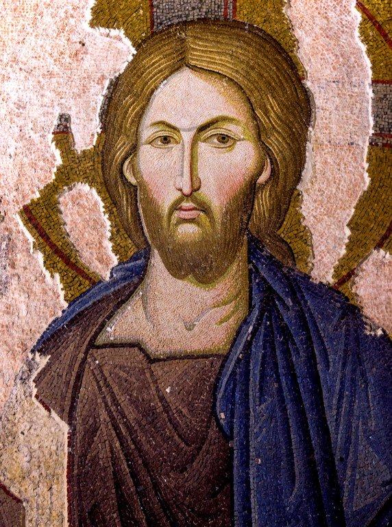 Деисис.Мозаика монастыря Хора в Константинополе. 1315 - 1321 годы. Фрагмент. Лик Спасителя.