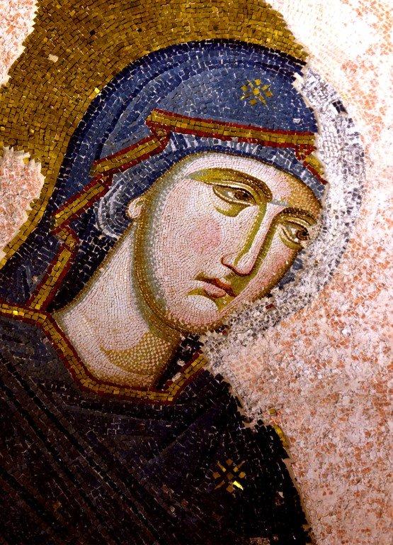 Деисис.Мозаика монастыря Хора в Константинополе. 1315 - 1321 годы. Фрагмент. Лик Пресвятой Богородицы.