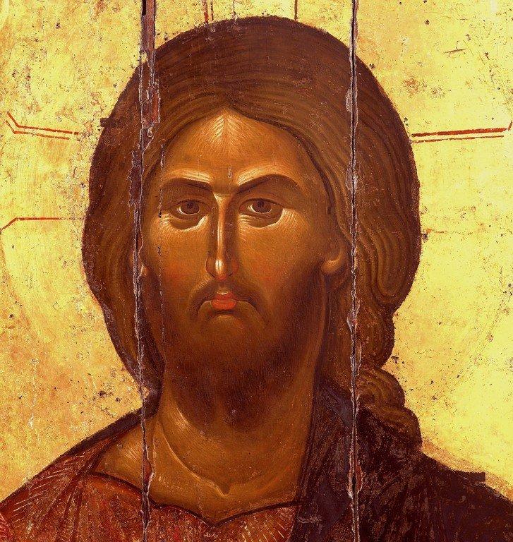 Христос Пантократор. Икона. Византия, XIII век. Монастырь Ватопед на Святой Горе Афон. Лик Спасителя.