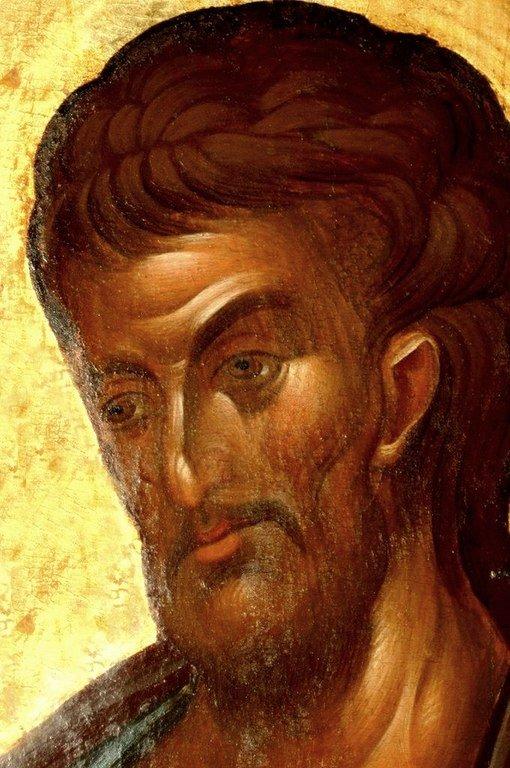 Святой Апостол и Евангелист Лука. Икона. Византия, 1360-е годы. Сербский монастырь Хиландар на Святой Горе Афон. Лик Святого.
