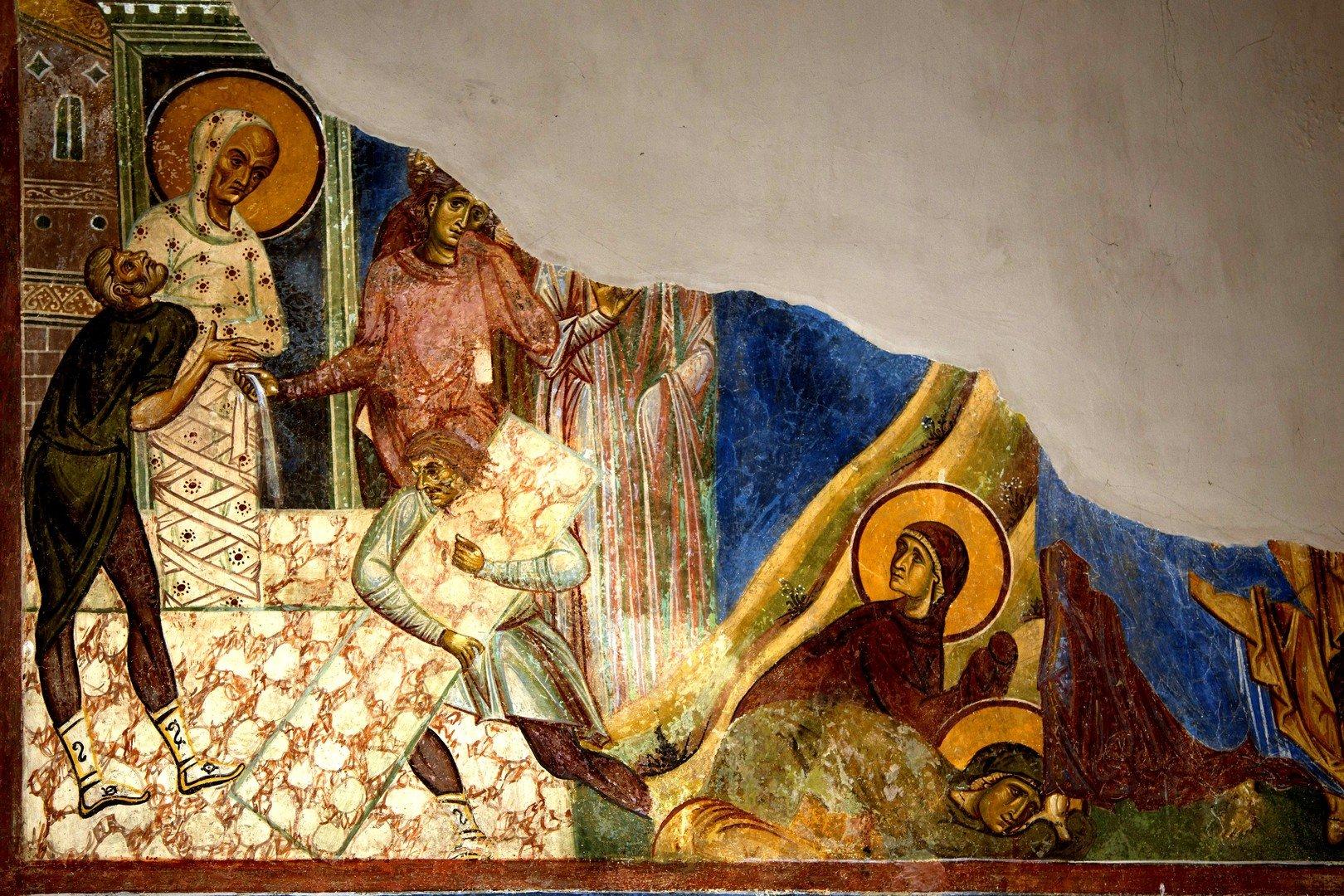 Воскрешение Праведного Лазаря. Фреска церкви Св. Пантелеимона в Нерези близ Скопье, Македония. 1164 год.