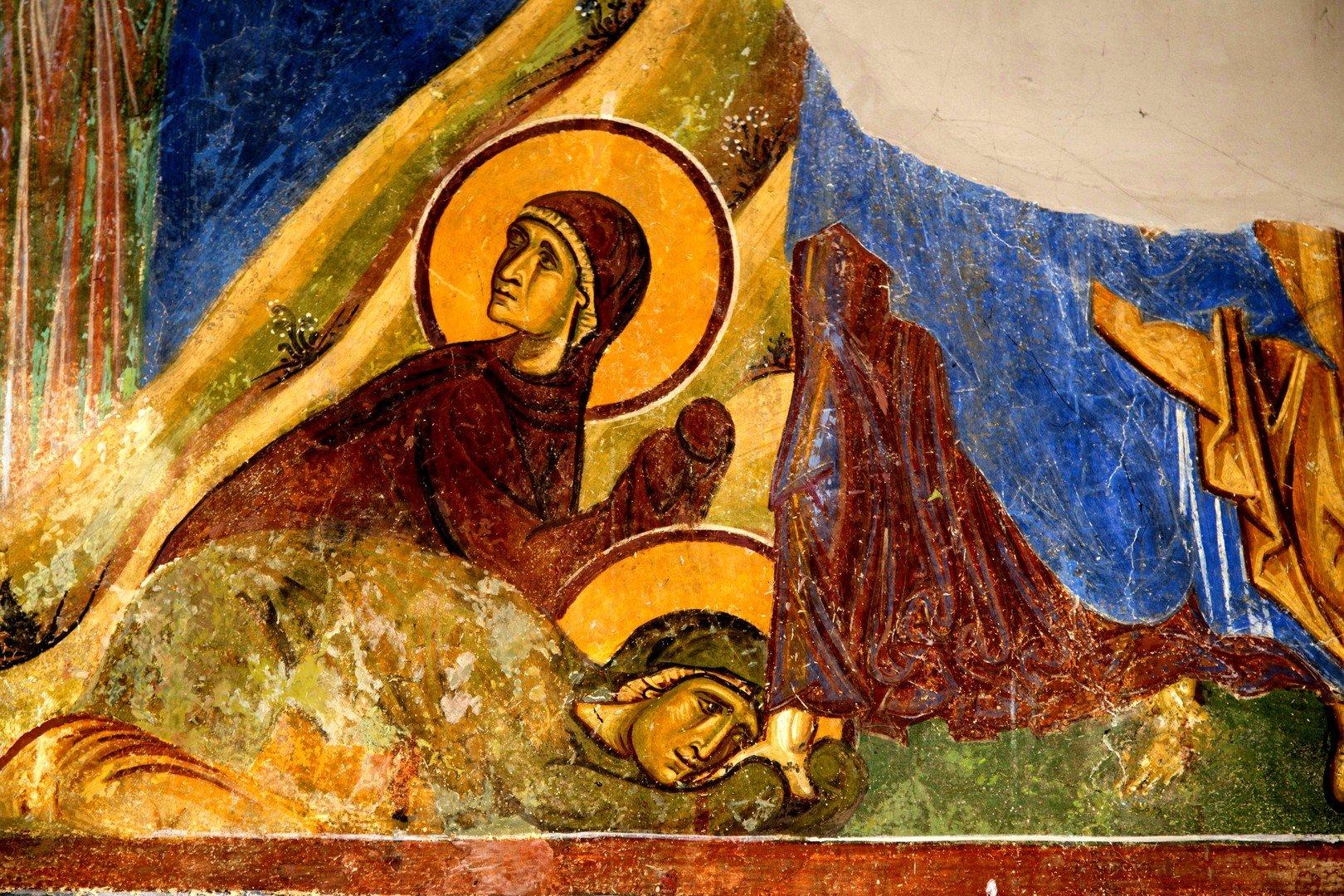 Воскрешение Праведного Лазаря. Фреска церкви Св. Пантелеимона в Нерези близ Скопье, Македония. 1164 год. Фрагмент.