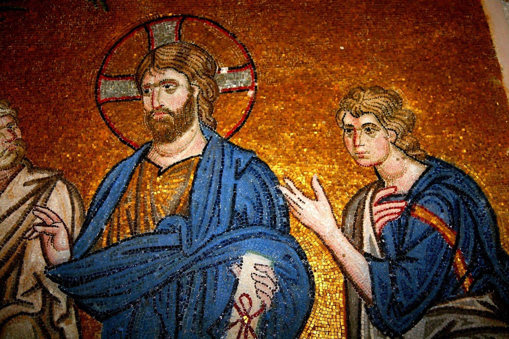 Вход Господень в Иерусалим. Мозаика монастыря Дафни, Греция. Конец XI века. Фрагмент.