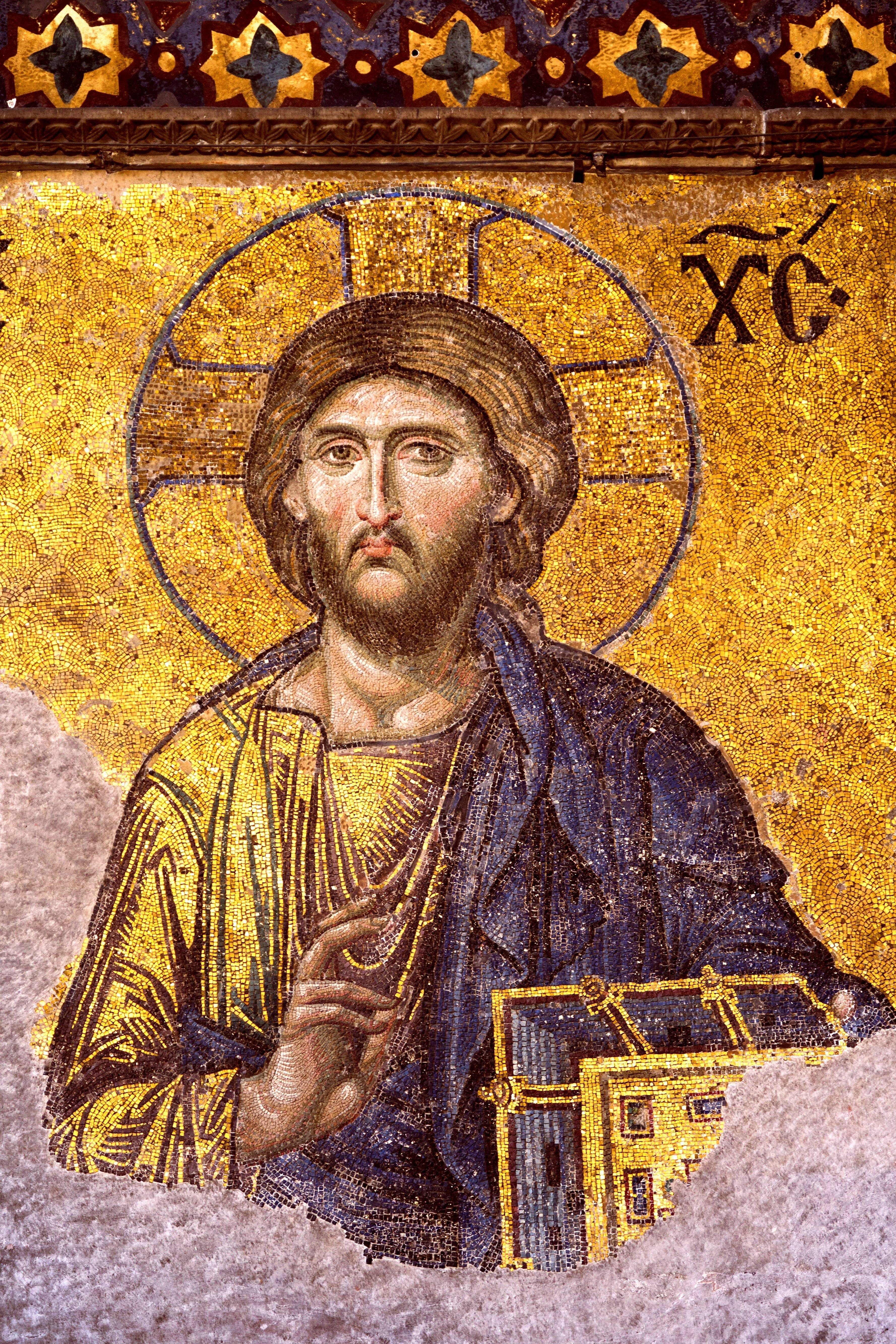 Деисис. Мозаика в Соборе Святой Софии в Константинополе. Около 1261 года. Фрагмент. Господь наш Иисус Христос.