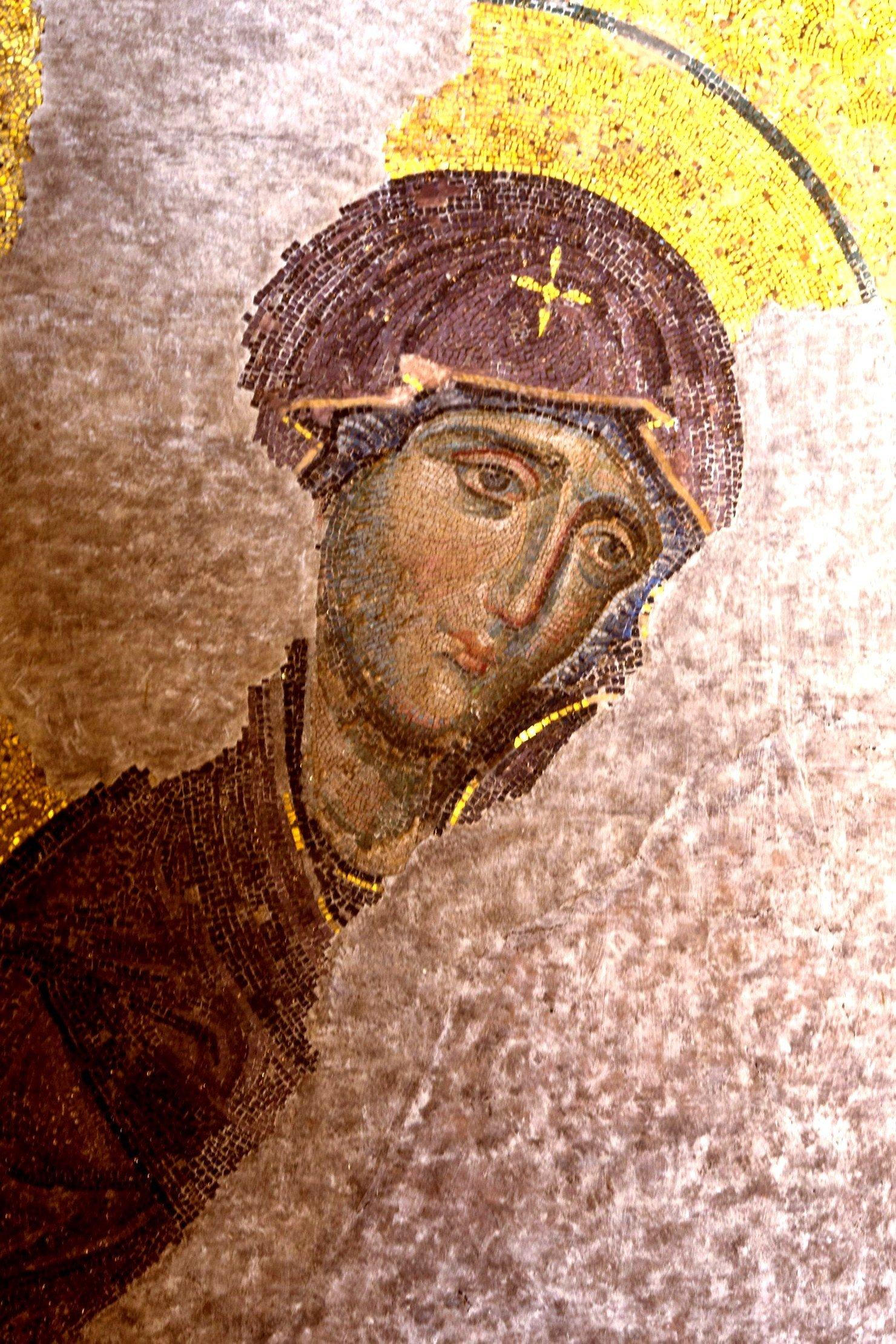 Деисис. Мозаика в Соборе Святой Софии в Константинополе. Около 1261 года. Фрагмент. Пресвятая Богородица.