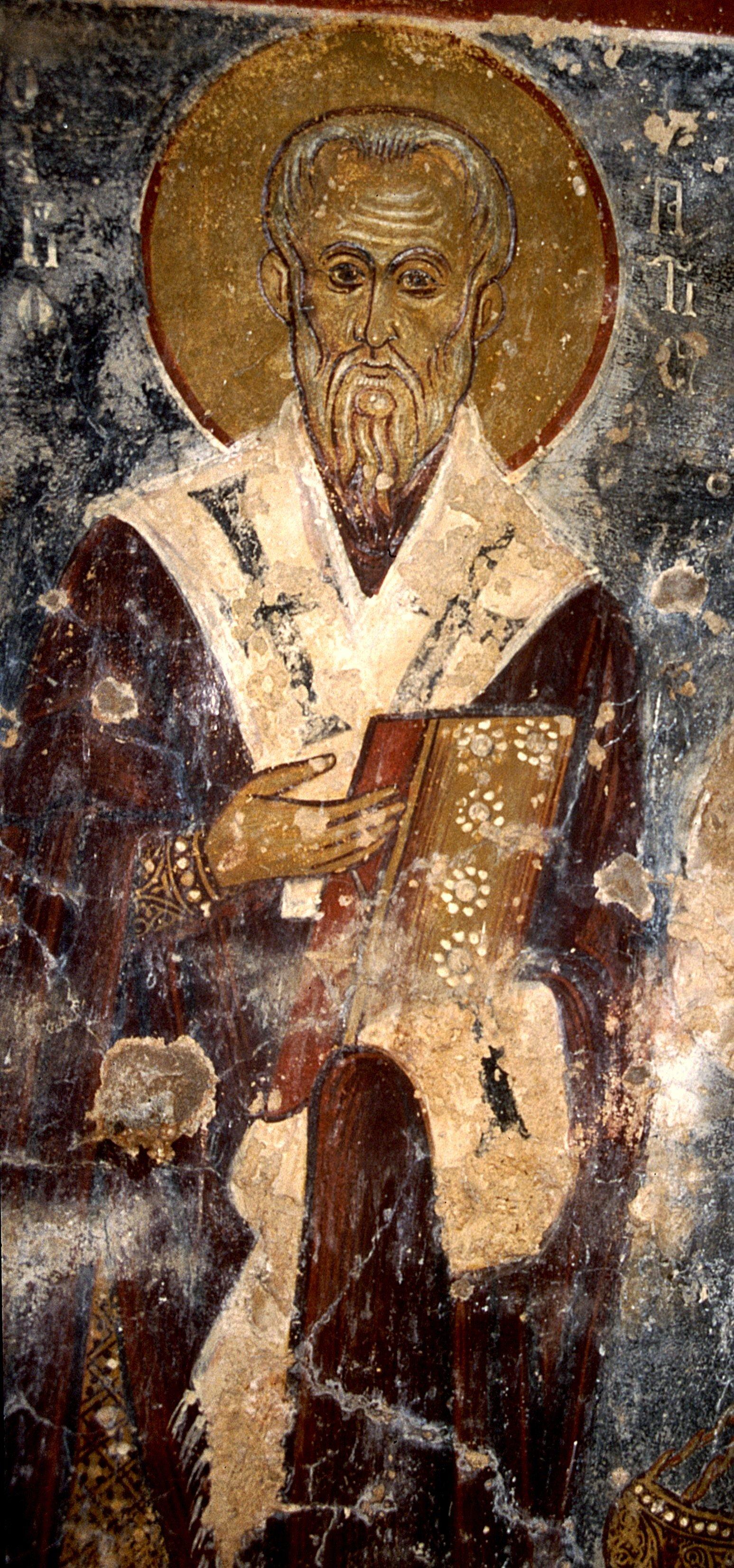 Священномученик Ипатий, Епископ Гангрский. Фреска церкви Святого Георгия в Вафи на Крите, Греция. 1284 год.