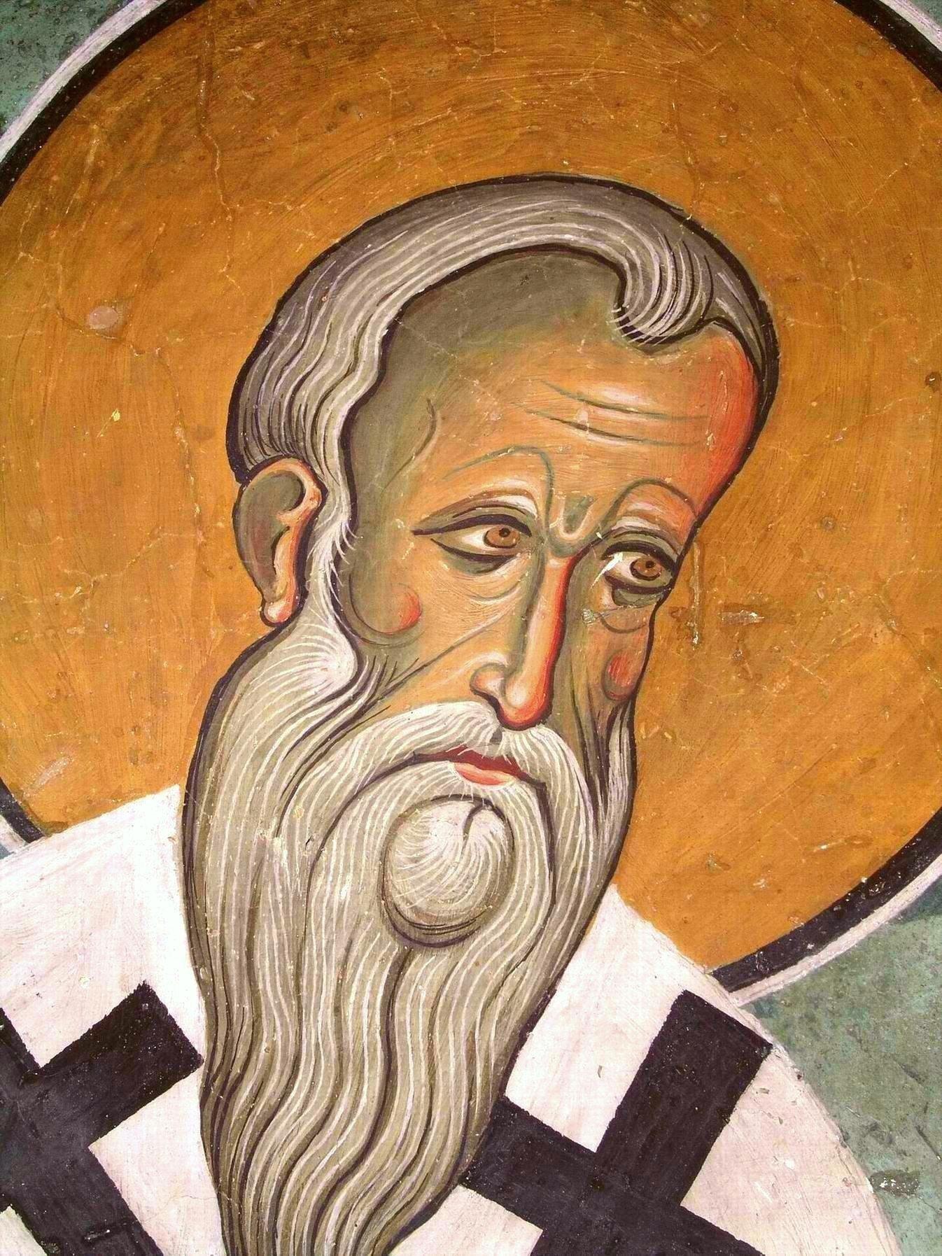 Священномученик Ипатий, Епископ Гангрский. Фреска церкви Панагии Аракиотиссы в селе Лагудера, Кипр. 1192 год.