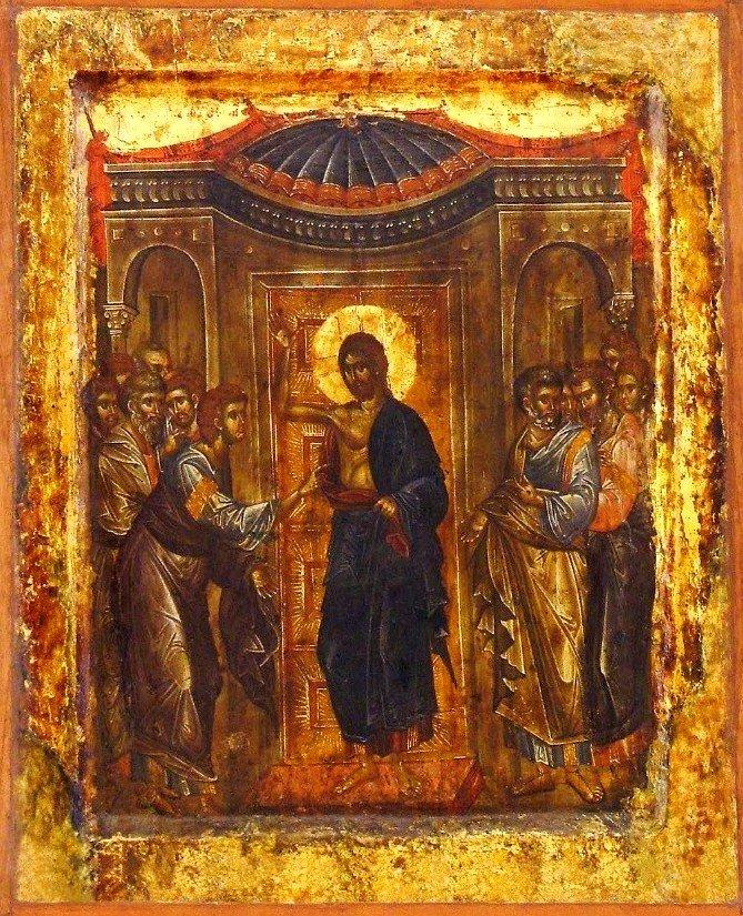 Уверение Апостола Фомы. Икона. Византия, начало XIV века. Галерея икон в Охриде, Македония.