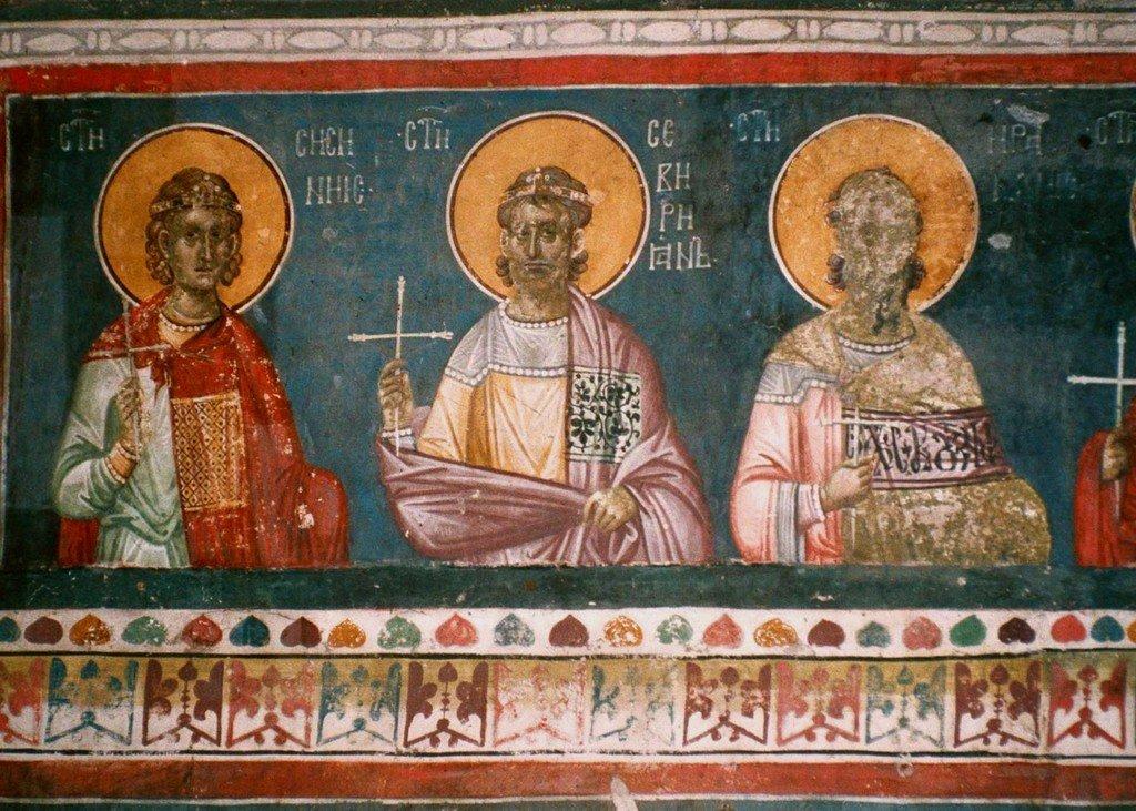 Святые Сорок Мучеников Севастийских. Фреска монастыря Грачаница, Сербия. Около 1320 года. Фрагмент.
