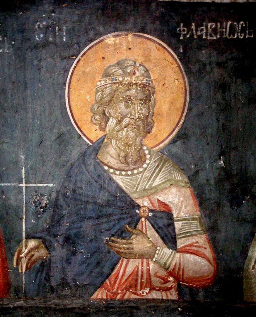 Святой Мученик Флавий Севастийский. Фреска монастыря Грачаница, Сербия. Около 1320 года.
