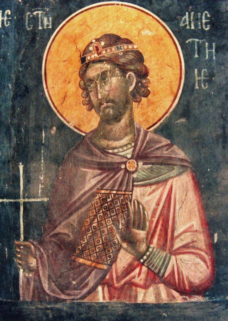 Святой Мученик Аетий Севастийский. Фреска монастыря Грачаница, Сербия. Около 1320 года.