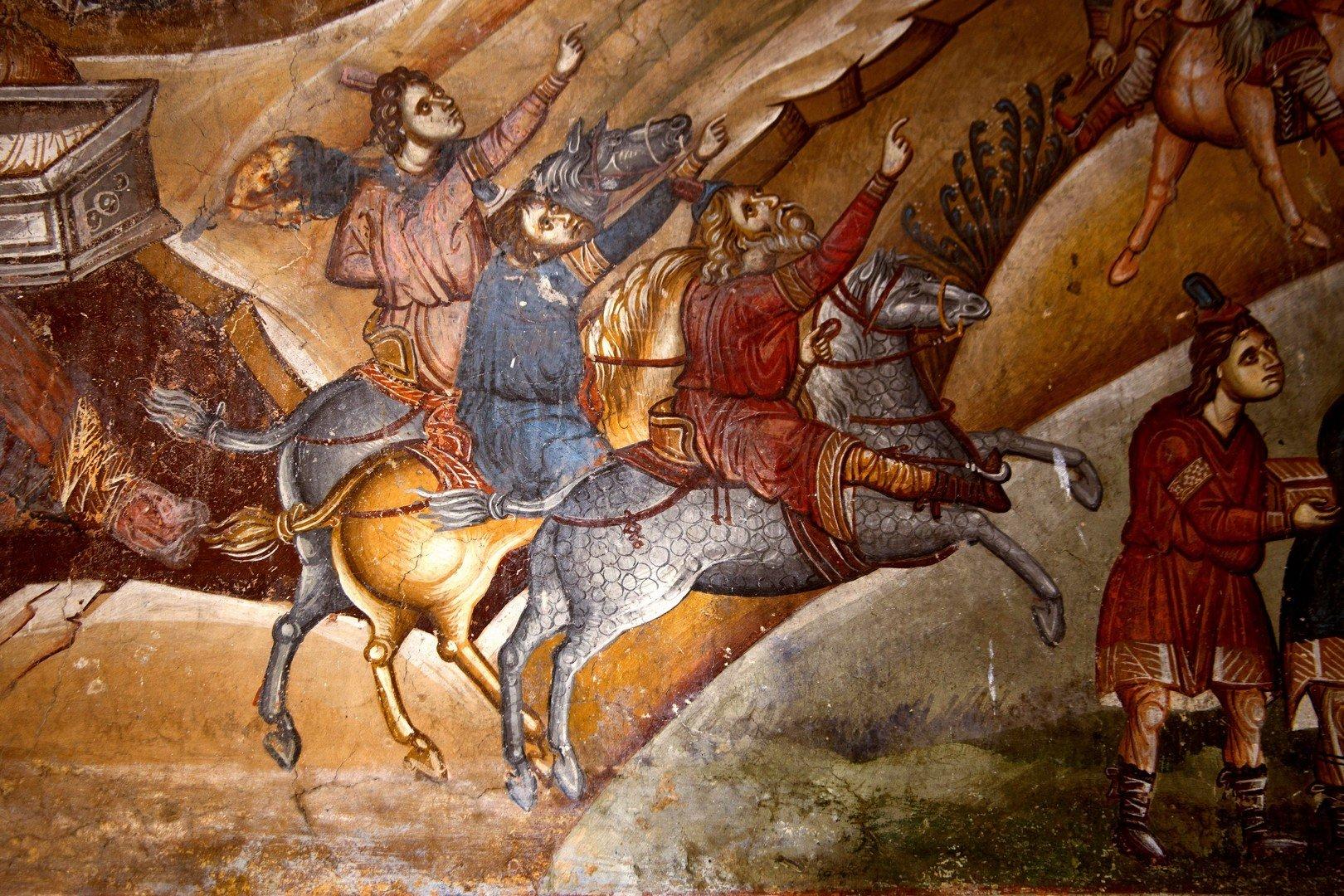 Фрагмент цикла иллюстраций к Акафисту ко Пресвятой Богородице. Фреска церкви Св. Димитрия в Марковом монастыре близ Скопье, Македония. Около 1376 года.