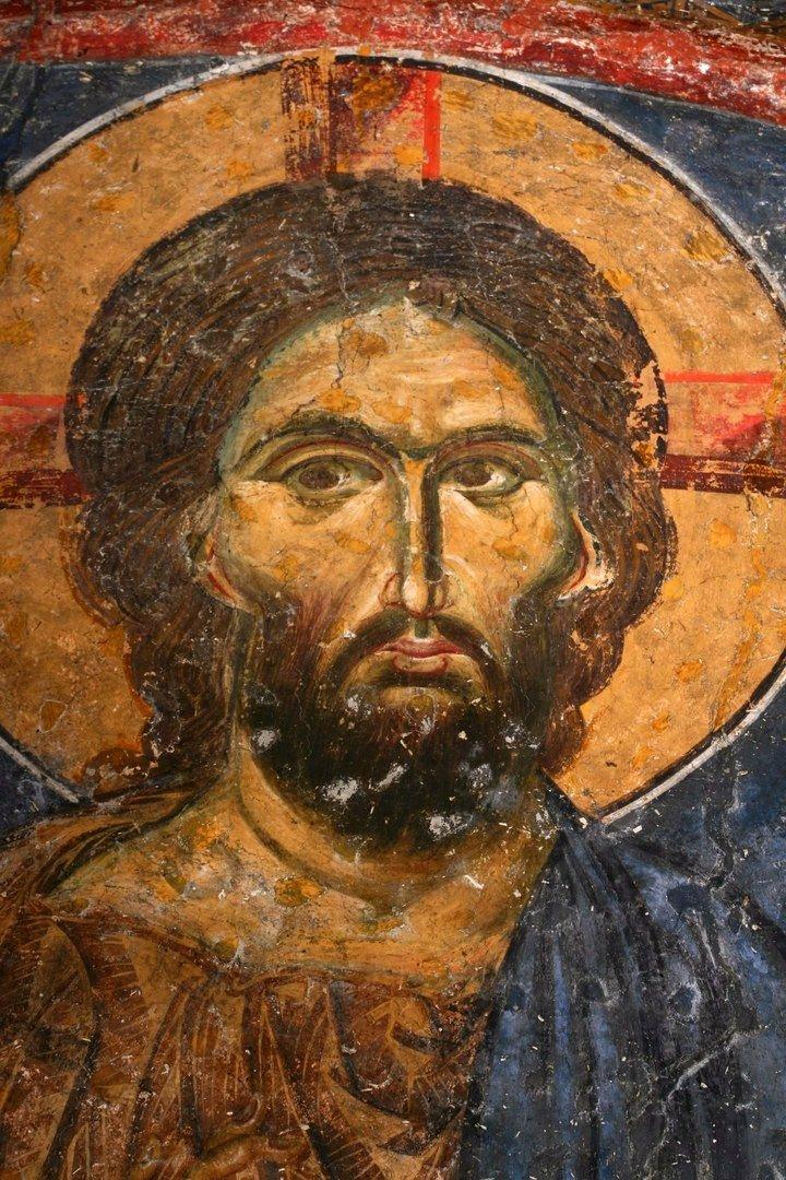Лик Спасителя. Фреска в церкви Святых Апостолов в Печской Патриархии, Косово, Сербия. 1260 - 1263 годы.