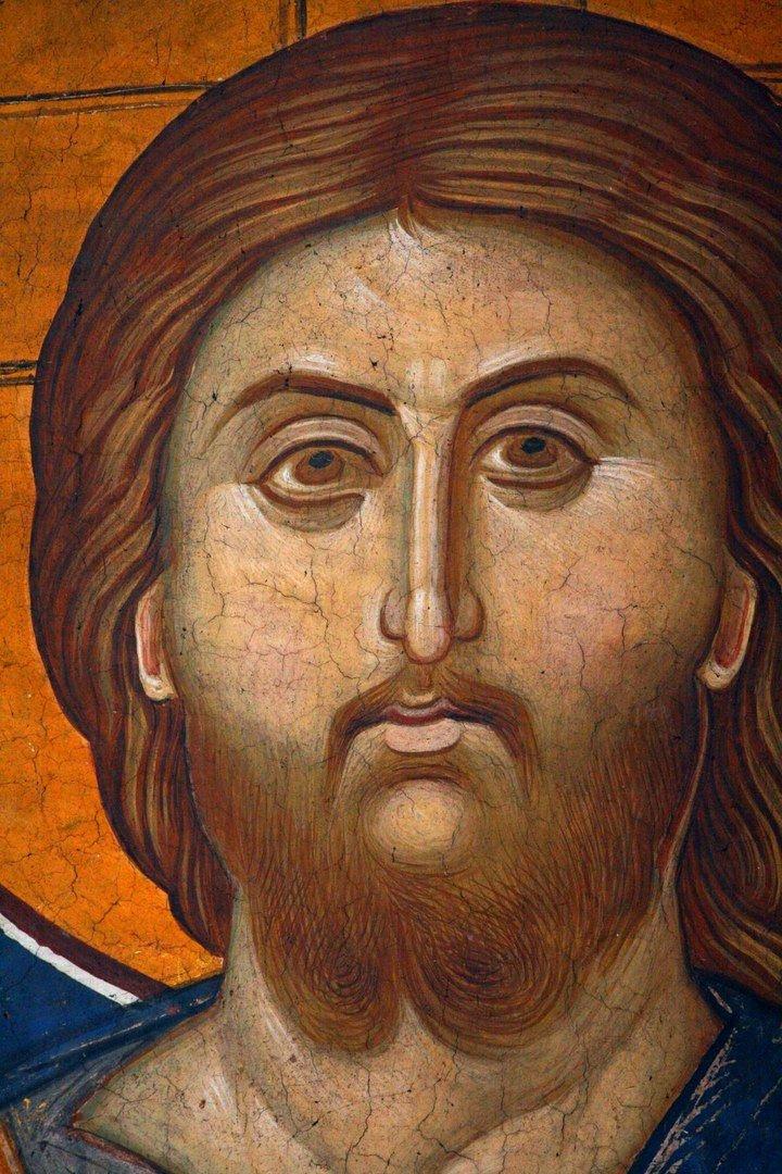Лик Спасителя. Фреска монастыря Высокие Дечаны, Косово, Сербия. Около 1350 года.