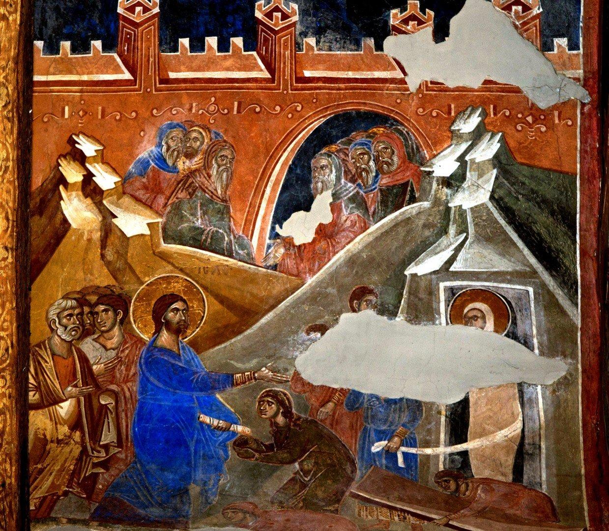 Воскрешение Праведного Лазаря. Фреска церкви Св. Димитрия в Марковом монастыре близ Скопье, Македония. Около 1376 года.