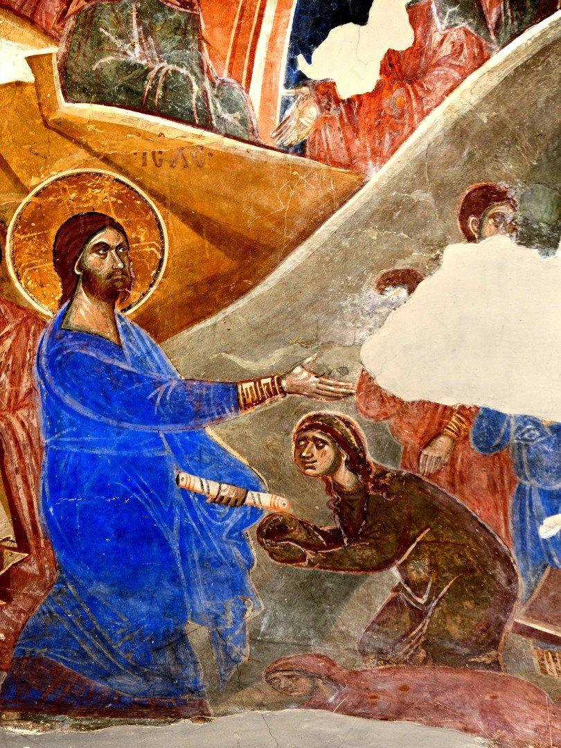 Воскрешение Праведного Лазаря. Фреска церкви Св. Димитрия в Марковом монастыре близ Скопье, Македония. Около 1376 года. Фрагмент.