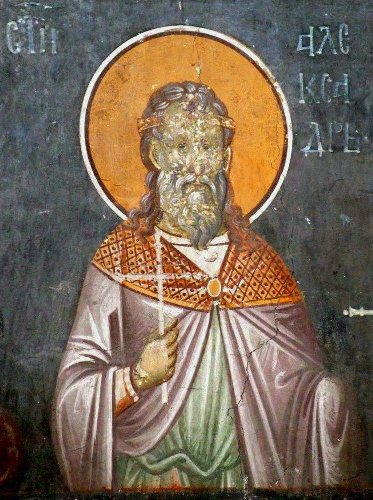 Святой Мученик Александр Севастийский. Фреска монастыря Грачаница, Сербия. Около 1320 года.