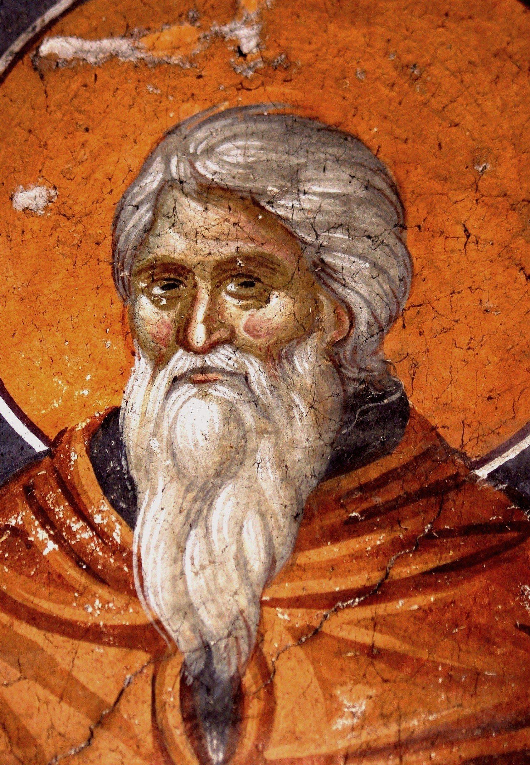 Святой Преподобный Иоанн Лествичник. Фреска монастыря Грачаница, Косово, Сербия. Около 1320 года.