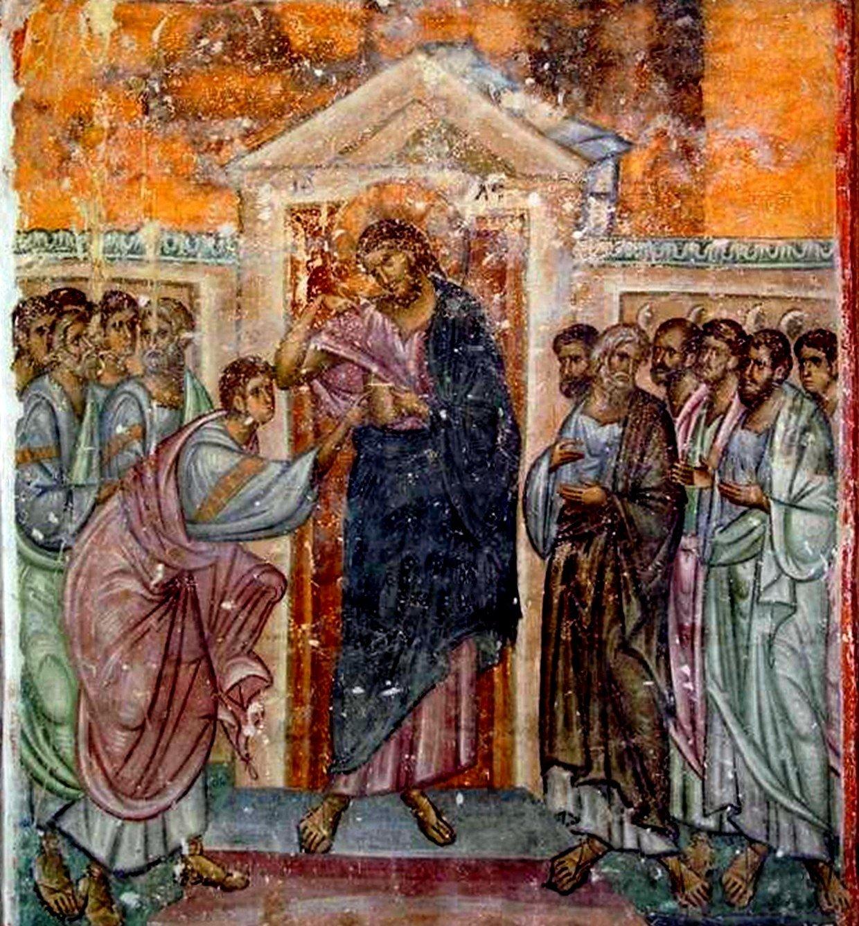 Уверение Апостола Фомы. Фреска церкви Святой Троицы в монастыре Сопочаны, Сербия. XIII век.