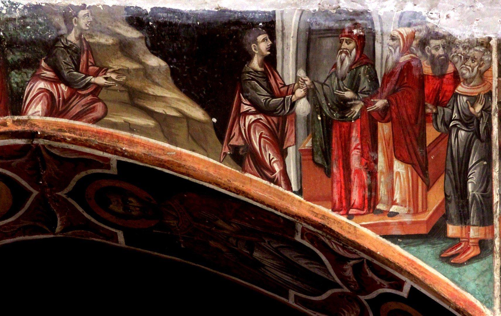 Иуда получает сребреники. Фреска церкви Пресвятой Богородицы в Палехори, Кипр.