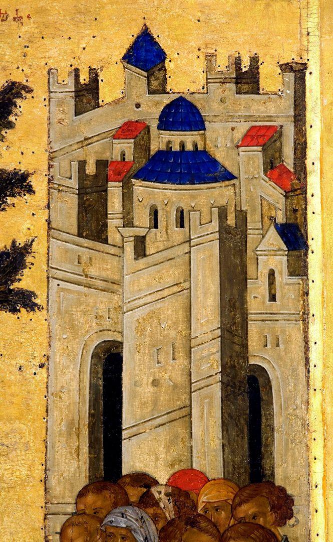 Вход Господень в Иерусалим. Икона из иконостаса Успенского собора Кирилло-Белозерского монастыря. Около 1497 года. Фрагмент.