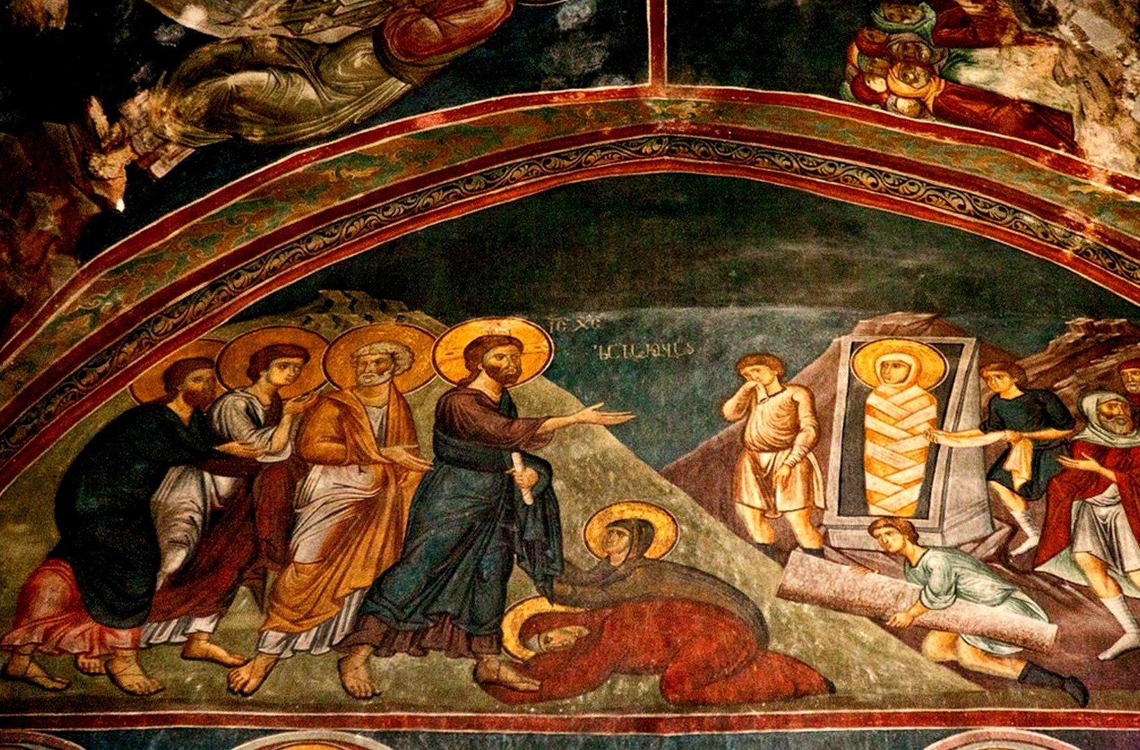 Воскрешение Праведного Лазаря. Фреска монастыря Сапара, Грузия.