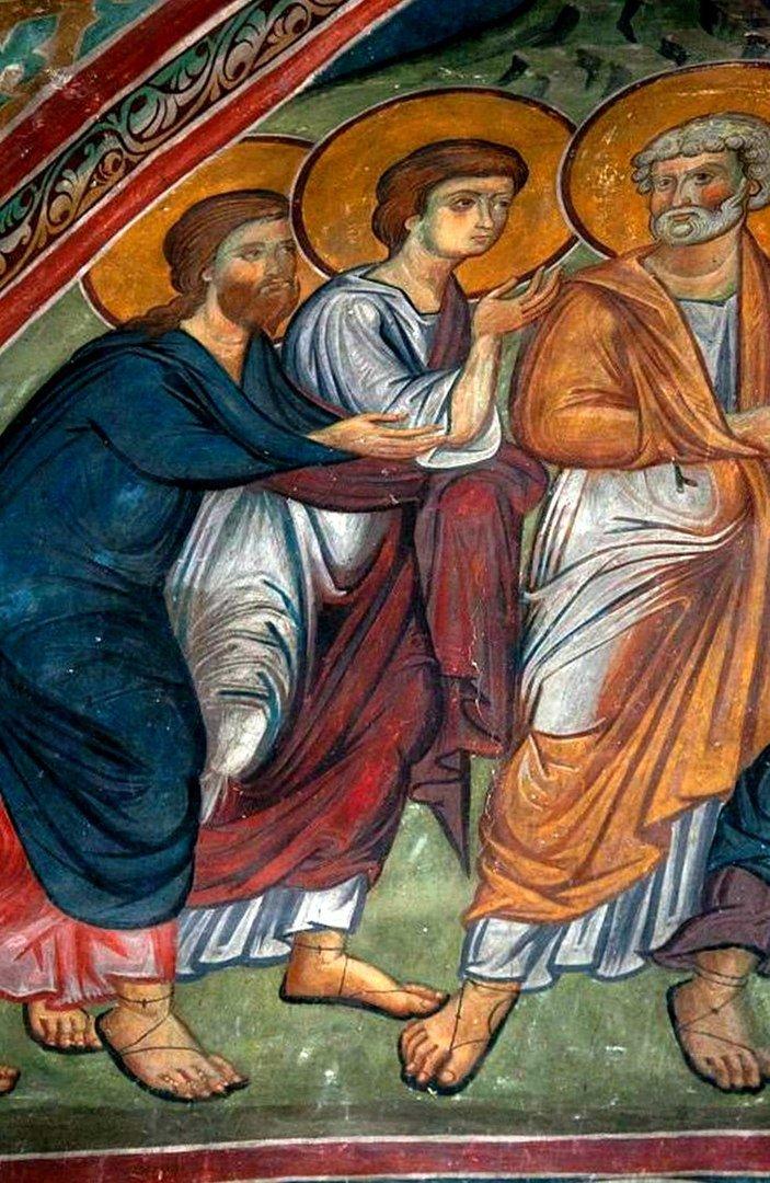 Воскрешение Праведного Лазаря. Фреска монастыря Сапара, Грузия. Фрагмент.